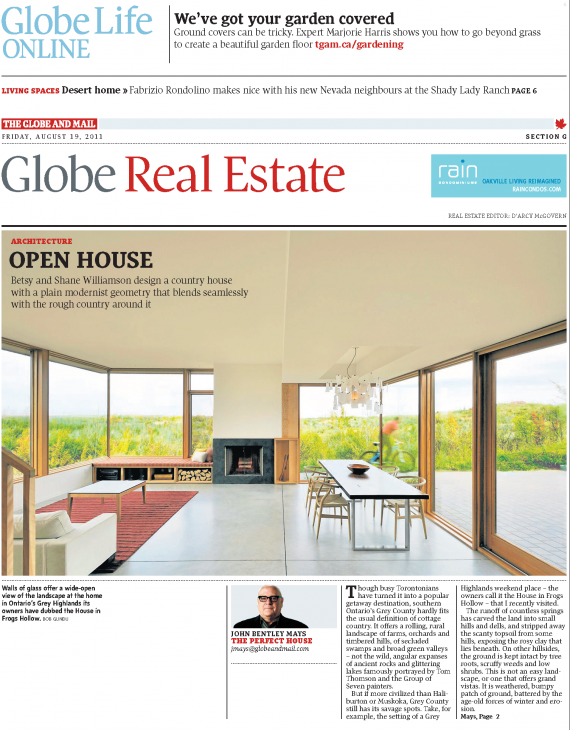 House in Frogs Hollow featured in The Globe and Mail