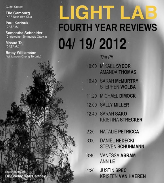Light Lab: Fourth Year Reviews at Carleton